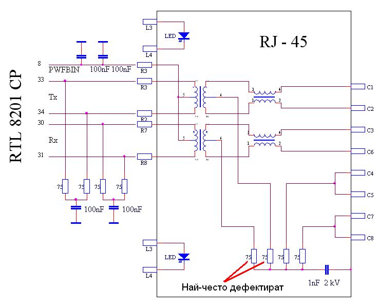 Електрическа схема на мрежов интерфейс със RJ-45