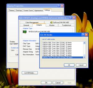 Път за промяна на кадровата честота в Windows XP