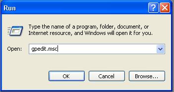 Стартиране на програмата gpedit